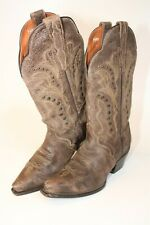 Dan Post Womens Size 7 M Leather Pull On Snip Toe Studded Cowboy Boots DP3446
