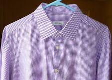 Men's Ascot Chang Custom Purple & White Gingham Dress Shirt, Size L, SLIM FIT