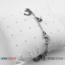 Women Stainless Steel Star on Moon Ball Pendant Charm o Link Chain Bracelet B89