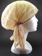 Coiffe ancienne couvre tête chef authentique dentelle d'autrefois galon fleuri