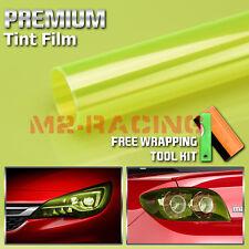 1FT x 4FT EZAUTOWRAP Free Tool Kit 12x48 Glossy Neon Yellow Headlight Taillight Fog Light Side Marker Vinyl Tint Film Self Adhesive