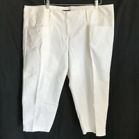 Dana Buchman Woman 22W Capri Pants White Mid-Calf Flat Front Pockets Belt Loops