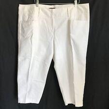 5343e233770be Dana Buchman Woman 22W Capri Pants White Mid-Calf Flat Front Pockets Belt  Loops