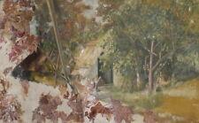 Antique impressionist oil collage painting landscape