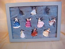 ROYAL DOULTON TINY PRETTY LADIES PORCELAIN FIGURINES WITH BOX 8 OF ORIGINAL 10