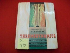 1994 FUNDAMENTALS OF CLASSICAL THERMODYNAMICS BY VAN WYLEN, SONNTAG & BORGNAKKE
