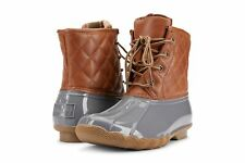 Gavin-101 Women Duck Boots Lace up Two Tone Combat Style Calf Rain Boots
