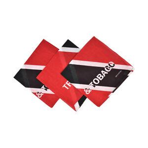 3 Bandanas Cotton Red & Black Trinidad & Tobago Head Scarf Handkerchief