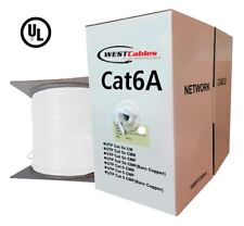 Bulk 1000ft Cat 6A Riser Solid Copper Ehernet Networking Cable - White