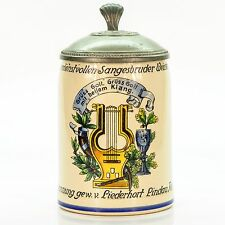 Antique Lidded Mug German Beer Stein - Student Trophy Music Academy circa 1900's