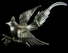 Huge Vintage PRIETO AVE JUAREZ MEXICO Sterling Silver Bird on Branch Pin 27g 925