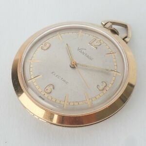 1960's VANTAGE by Hamilton Electric Pocket Watch Very Rare Gold Tone 40mm