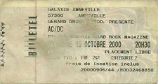 RARE / TICKET DE CONCERT - AC/DC AC / DC LIVE A AMNEVILLE ( FRANCE ) 15 OCT 2000
