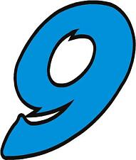 """x1 1"""" Race Number vinyl stickers (MORE in EBAY SHOP) Style 2 Number 9 Lblue/Blck"""