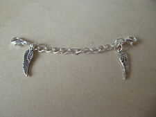 SILVER CLIP ON WITH ANGEL WINGS SAFETY/EXTENDER CHAIN FOR BRACELETS & NECKLACES