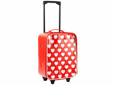 Children's Trolley Cabin Bag/Suitcase - 30x38x18cms - Red with White Hearts