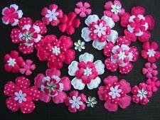 60 FLOWERS Hot Pink Polka Dot/Plain Fabric FFE38HP Hair Accessories Scrapbooking