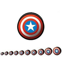 Hollow Screw Fit Captain America Logo Plug / Flesh Tunnel / Ear Stretcher