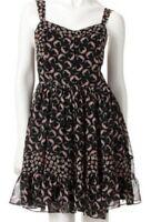 Lauren Conrad LC L Floral Chiffon Black Color Me Pretty Ruffle Tank Dress