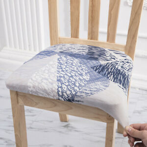 Printed Chair Seat Cover Dining Room Chair Cushion Protector with Elastic Band