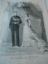 Gravure 1878 - Le Roi Don Alphonse XII et la Reine Dona Mercédés