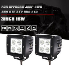 """2x 3"""" inch Led Work Light Bar 16w Cube Pods Flood SUV Lamp for Offroad ATV Jeep"""