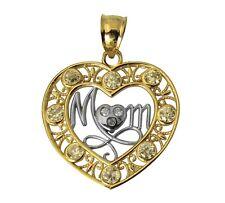 "14K 2 Tone Real Yellow White Gold ""Mom"" Heart Cubic Zirconia Charm Pendant"