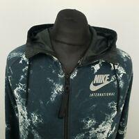 NIKE Mens Vintage Hoodie INTERNATIONAL Jumper Jacket Full Zip LARGE Blue