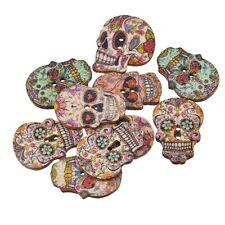 50Pcs DIY Crafts Wooden Sewing Wood Buttons Scrapbooking Skull Skeleton