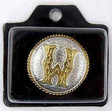 "1-1/4"" Round Letter W Concho w/Rope Edge (Silver & Gold Plate) - Screwback"