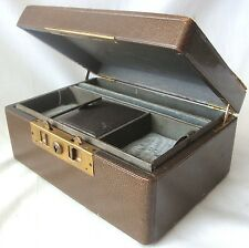 W.W.WINSHIP LEATHER TRAVEL JEWLERY BOX WITH LOCK AND REMOVABLE TRAY SILK LINED