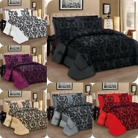 Bedspread 3Piece Flock Quilted Duvet Comforter Bed Set Or Buy Curtain Separately