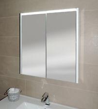 Specchiera specchio bagno pensile contenitore 2 ante, fascia led, cm.67x60x15