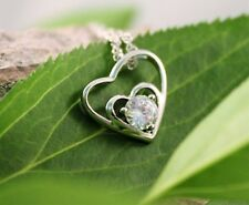 Silver Cubic Zirconia Heart Pendant Necklace w/Free Jewelry Box and Shipping
