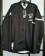 Men's NBA Brooklyn Nets adidas Black 2016 On-Court Jacket Size L