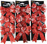 Set Of 9 RED WHITE SNOWFLAKE Glitter Bow Christmas Tree Baubles Decorations