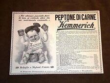 Pubblicità d'Epoca per collezionisti Peptone di carne Kemmerich - Barattoli -