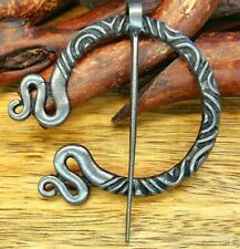 CELTIC VIKING DARK SILVER PENANNULAR MEDIEVAL CLOAK BROOCH SHAWL/SKIRT/KILT PIN