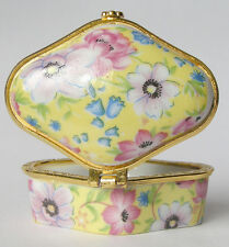 PERFECT @ Porcelain Jewelry box painted spring flowers beautiful - business gift