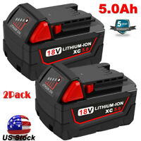 For Milwaukee 48-11-1852 48-11-1850 M18 18V Lithium XC 5.0 Battery 2-Pack 5.0Ah