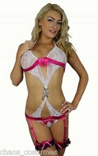 Lingerie Pink White Lace Teddy Camisole Bedroom Wear Naughty Costume 6-12