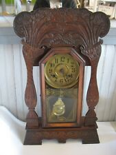 Antique New Haven Clock Co Gingerbread Mantel Clock Art Nouveau FLORALS Tulips