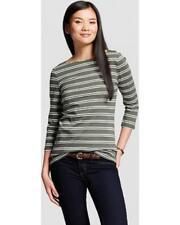 New NWT Merona Green Striped Shirt Long Sleeve Moss Cream XS Boat Neck