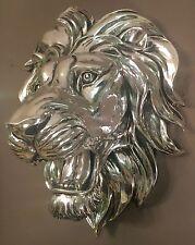 Gran Alto Brillo Plata Cabeza De León Busto De Pared Arte Escultura Retro Vintage Nuevo