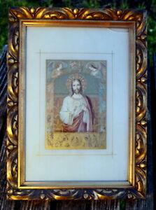 wunderschönes Bild Druck hinter Glas heilige Kommunion Jesus Engel Rarität