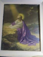 Jesus Praying Rock Framed Print Purple Glass Beautiful Christ Vintage Religious