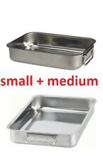2x IKEA KONCIS Stainless Steel Roasting Tin Baking Pan Tray Small Medium Mix Set