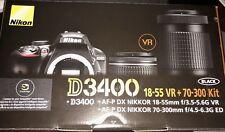 Nikon D3400 DSLR Camera with AF-P 18-55mm f/3.5-5.6G VR and 70-300mm f/4.5-6.3g