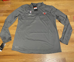 New Nike Dri-Fit NBA Authentics Half Zip TEAM ISSUE Chicago Bulls L