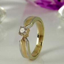 Echtschmuck aus mehrfarbigem Gold mit VS Reinheit im Solitär-Ringe